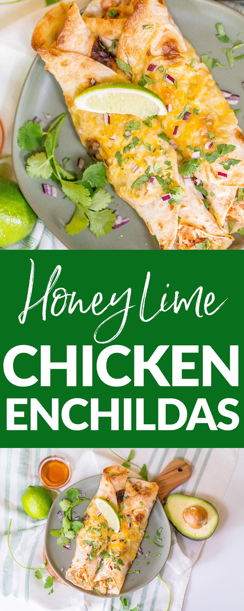 These Honey Lime Chicken Enchiladas are sure to be your family's new favorite comfort food. They are easy to make ahead and a big crowd pleaser!